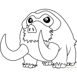 Mamoswine Pokemon Free Coloring Page for Kids