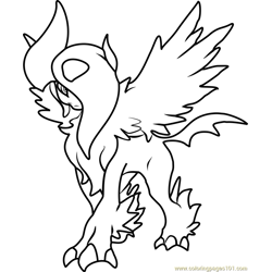 Mega Absol Pokemon Free Coloring Page for Kids