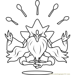 Mega Alakazam Pokemon Free Coloring Page for Kids