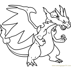 Mega Charizard X Pokemon Free Coloring Page for Kids