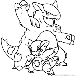 Mega Kangaskhan Pokemon Free Coloring Page for Kids