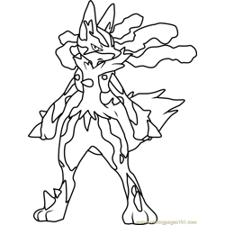 Mega Lucario Pokemon Free Coloring Page for Kids