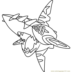 Mega Sharpedo Pokemon Free Coloring Page for Kids