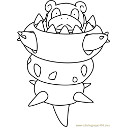 Mega Slowbro Pokemon Free Coloring Page for Kids
