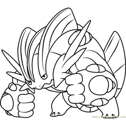 Mega Swampert Pokemon Free Coloring Page for Kids