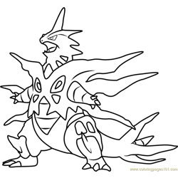 Mega Tyranitar Pokemon Free Coloring Page for Kids