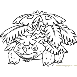 Mega Venusaur Pokemon Free Coloring Page for Kids