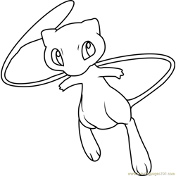 Mew Pokemon Free Coloring Page for Kids
