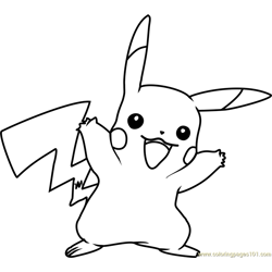 Pikachu Pokemon Free Coloring Page for Kids