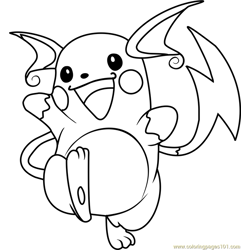 Raichu Pokemon Free Coloring Page for Kids