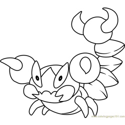 Skorupi Pokemon Free Coloring Page for Kids
