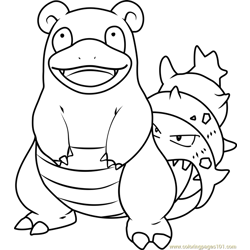Slowbro Pokemon Free Coloring Page for Kids
