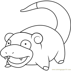 Slowpoke Pokemon Free Coloring Page for Kids