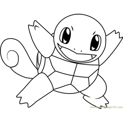 Squirtle Pokemon Free Coloring Page for Kids