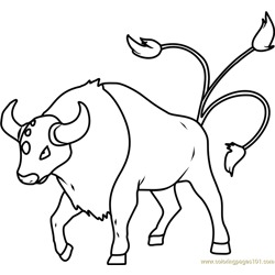 Tauros Pokemon Free Coloring Page for Kids