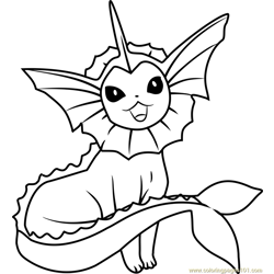Vaporeon Pokemon Free Coloring Page for Kids