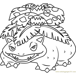 Venusaur Pokemon Free Coloring Page for Kids