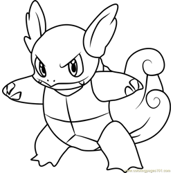 Wartortle Pokemon Free Coloring Page for Kids