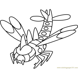 Yanmega Pokemon Free Coloring Page for Kids