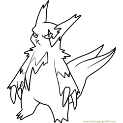 Zangoose Pokemon Free Coloring Page for Kids