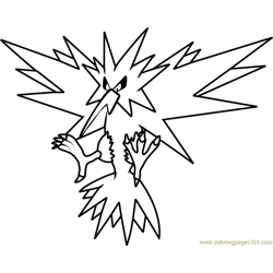 Zapdos Pokemon Free Coloring Page for Kids