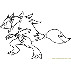 Zoroark Pokemon Free Coloring Page for Kids