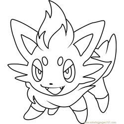 Zorua Pokemon Free Coloring Page for Kids