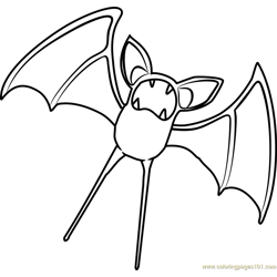Zubat Pokemon Free Coloring Page for Kids