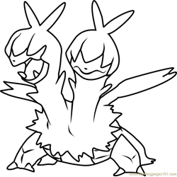 Zweilous Pokemon Free Coloring Page for Kids