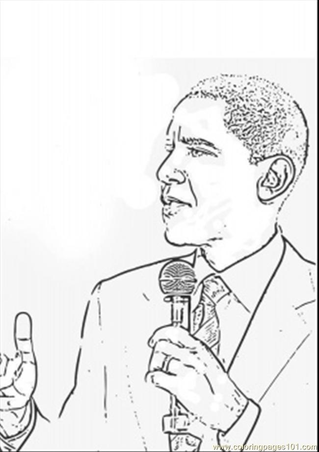 Barack Obama Is Talking Coloring Page Free Politics