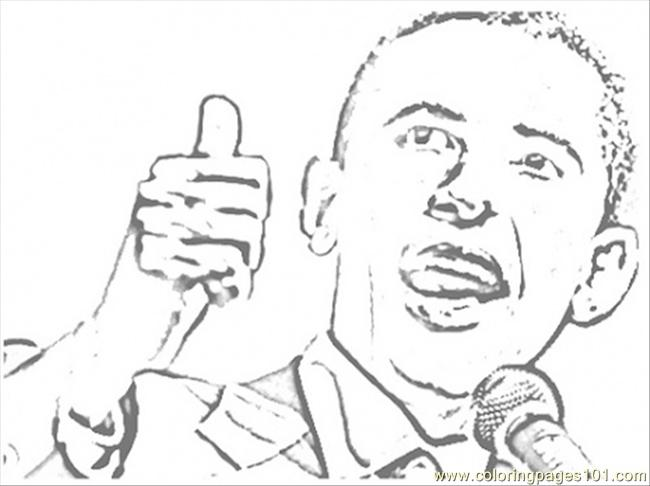 Obama At The Elections Coloring Page