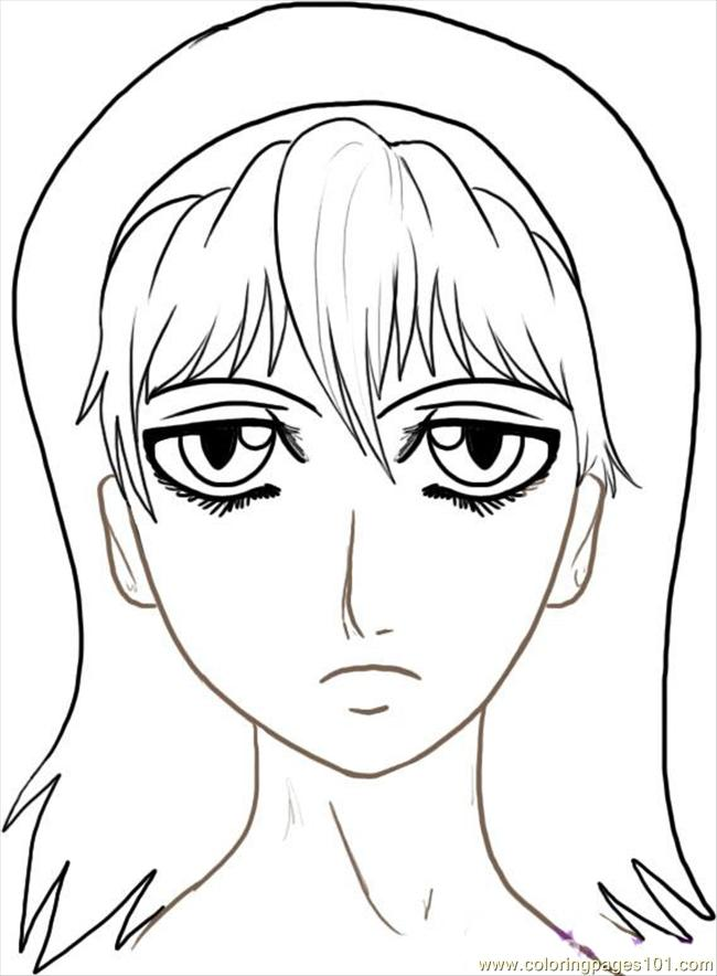 Ow To Draw Anime Faces Step 7 Coloring Page Free Pop Artists