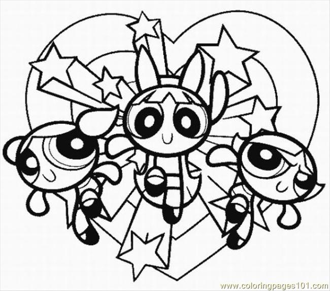 powerpuff girls3 coloring page - Girl Coloring Pages