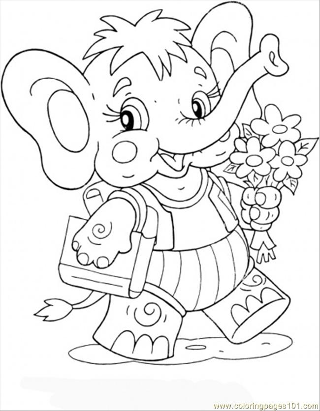 Elephant Calf Coloring Page  Free Preschool Study Coloring Pages