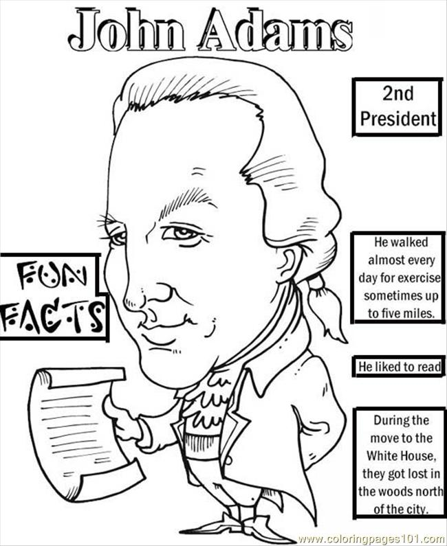 28 Color President Adams Coloring Page