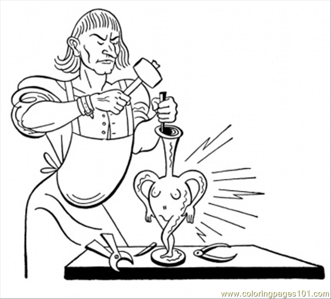 Blacksmith Is Making A Vase Coloring Page