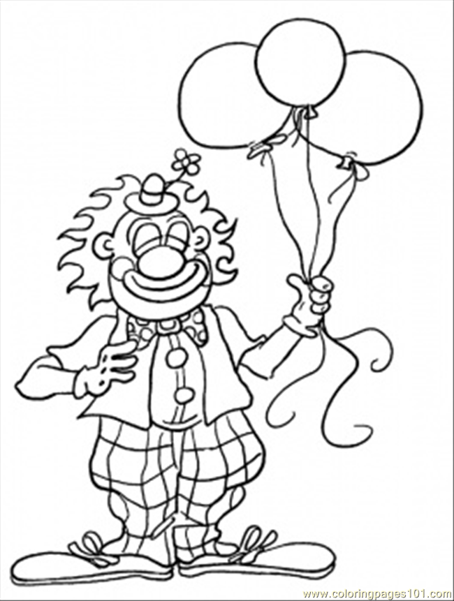 Clown For Birthday Coloring Page