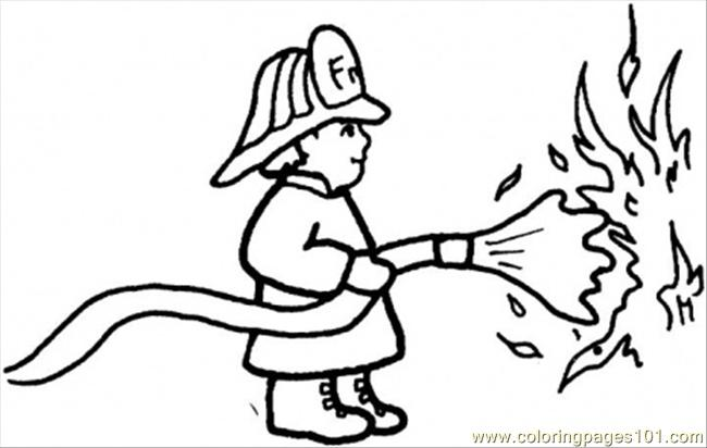 fireman outs out the fire coloring page - Fireman Coloring Pages