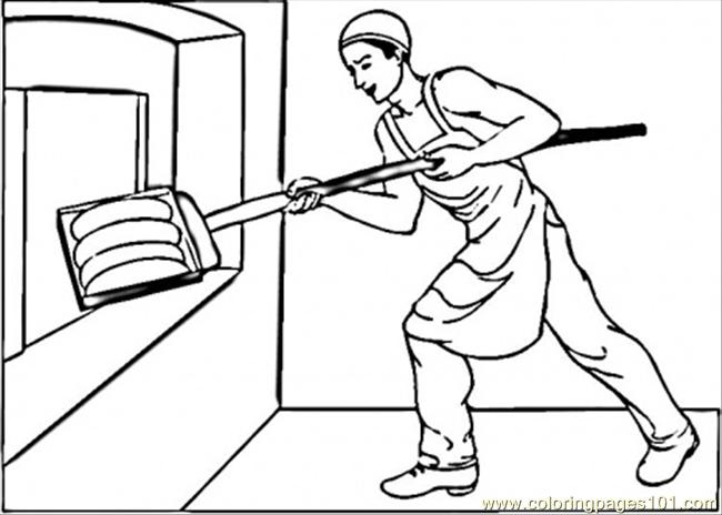 Putting Bread In Oven Coloring Page  Free Profession Coloring