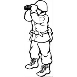 Soldier Stands Watch With Binoculars coloring page
