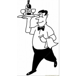 Waiter In A Cafe coloring page