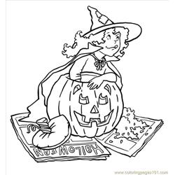 Witchcleaningpumpkin Big Free Coloring Page for Kids