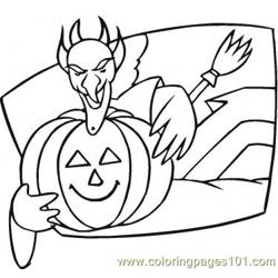 With Pumpkin Free Coloring Page for Kids