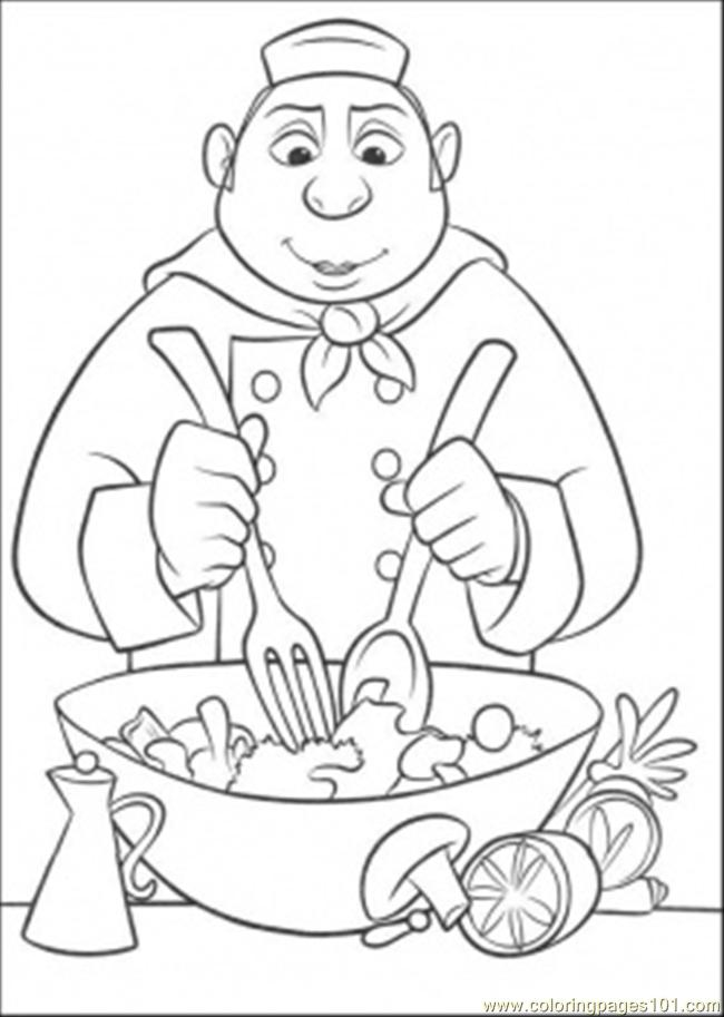 Auguste Gusteau Is Making Tasty Salad Coloring Page