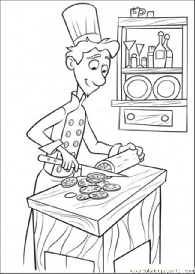 Linguini Is Cooking Coloring Page - Free Ratatouille Coloring ...
