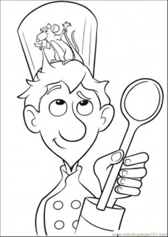 linguini with mouse on his head coloring page - Ratatouille Coloring Pages