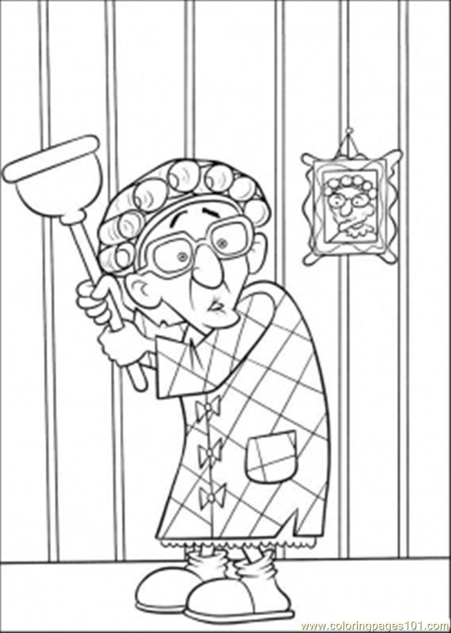 Scared Grandmother Coloring Page