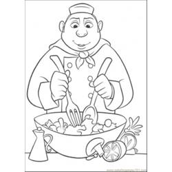 Auguste Gusteau Is Making Tasty Salad Free Coloring Page for Kids