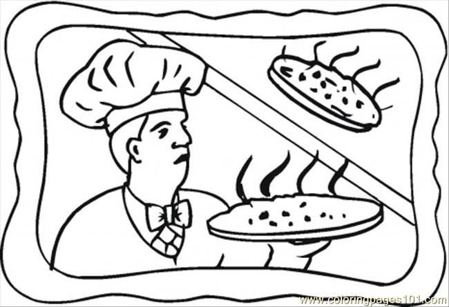 cooking pizza coloring page