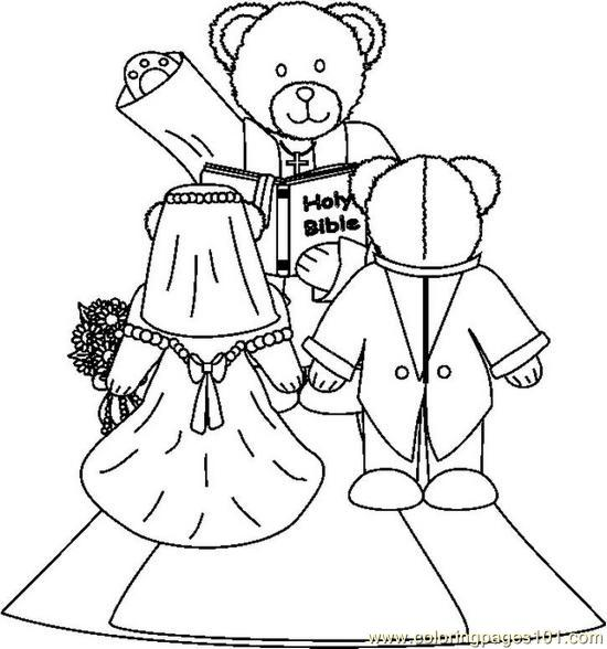 Bearweddingbw Coloring Page